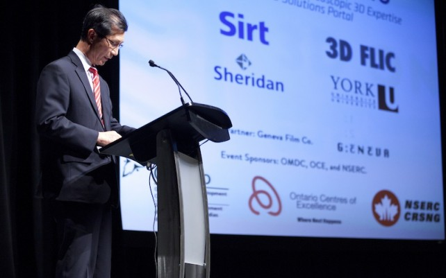 Michael Chan, Minister of Tourism, Culture and Sport, speaks at the 3DO Launch